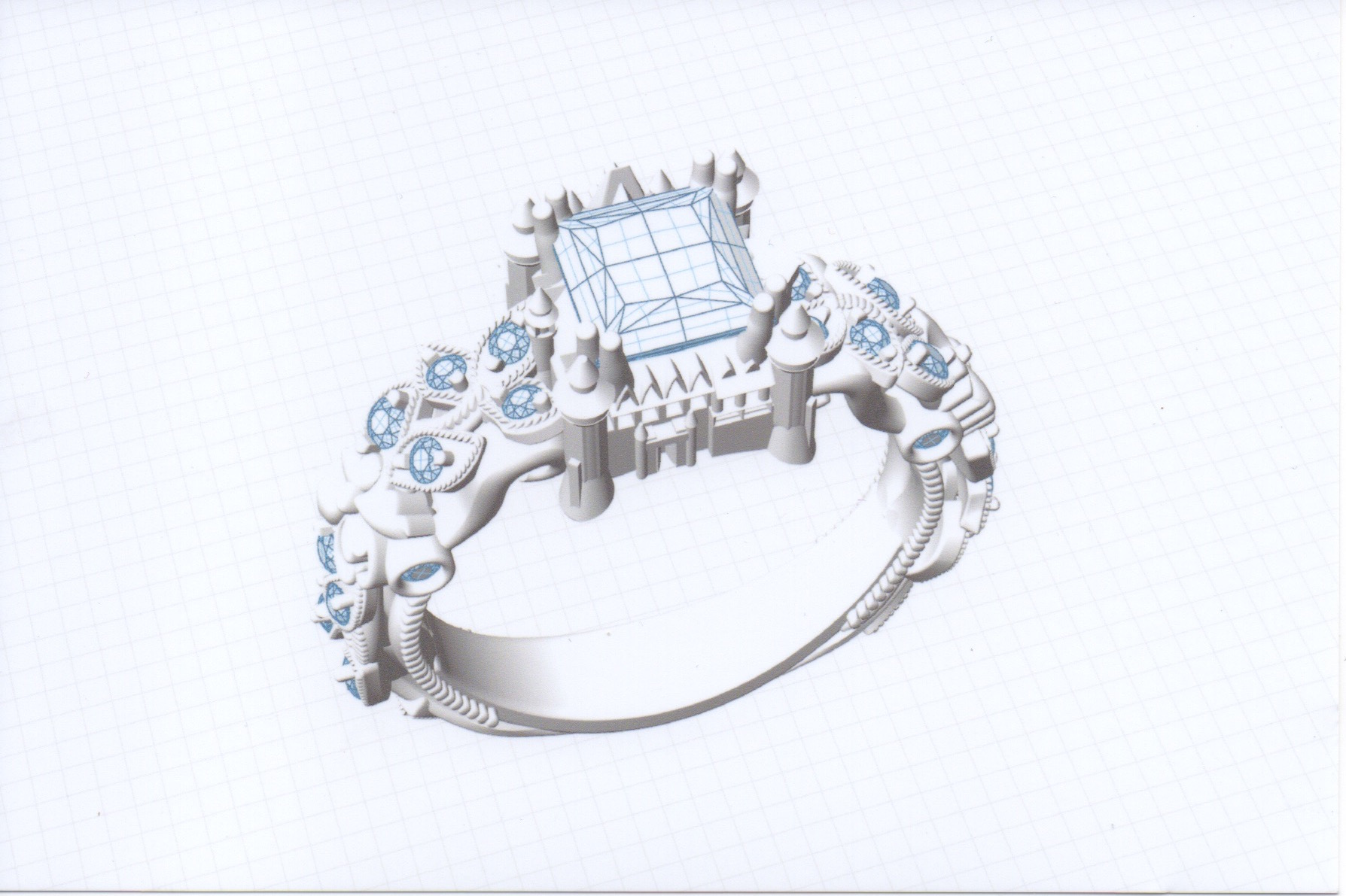 portfolio made studio item model formation bespoke wedding design cad rings jewellery ring specialist cluster diamond custom printed